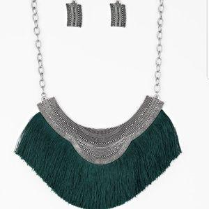 Hunter Green Fringed Necklace w/ earrings Jewelry
